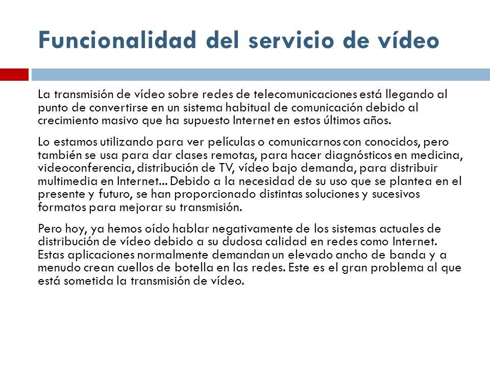 Funcionalidad del servicio de vídeo La transmisión de vídeo sobre redes de telecomunicaciones está llegando al punto de convertirse en un sistema habi