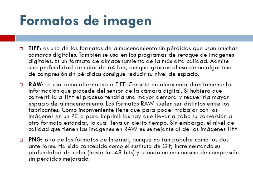 Formatos de imagen TIFF: es uno de los formatos de almacenamiento sin pérdidas que usan muchas cámaras digitales. También se usa en los programas de r