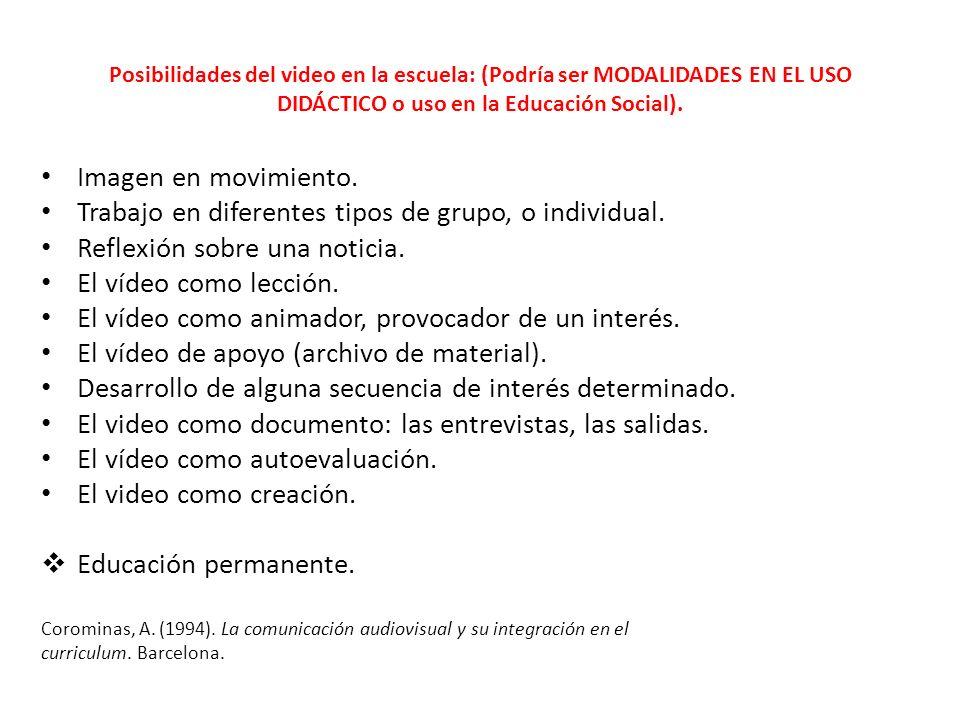 Posibilidades del video en la escuela: (Podría ser MODALIDADES EN EL USO DIDÁCTICO o uso en la Educación Social). Imagen en movimiento. Trabajo en dif
