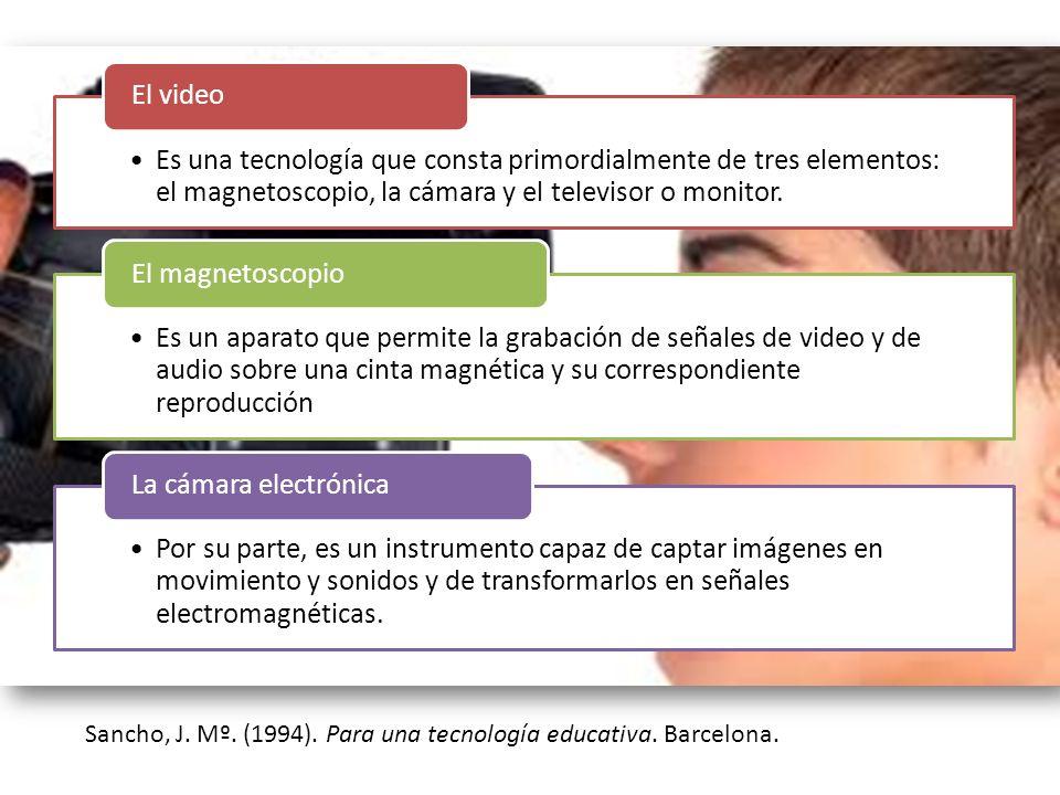 Sancho, J. Mº. (1994). Para una tecnología educativa. Barcelona. Es una tecnología que consta primordialmente de tres elementos: el magnetoscopio, la