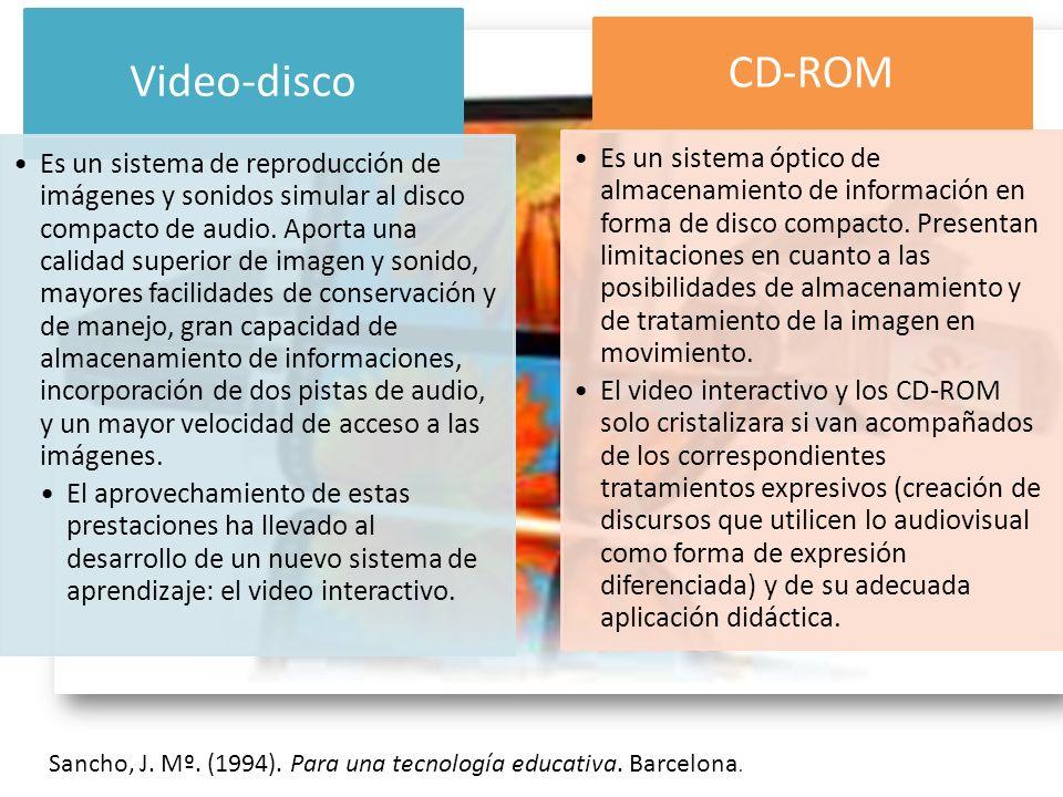 Sancho, J. Mº. (1994). Para una tecnología educativa. Barcelona. Video-disco Es un sistema de reproducción de imágenes y sonidos simular al disco comp