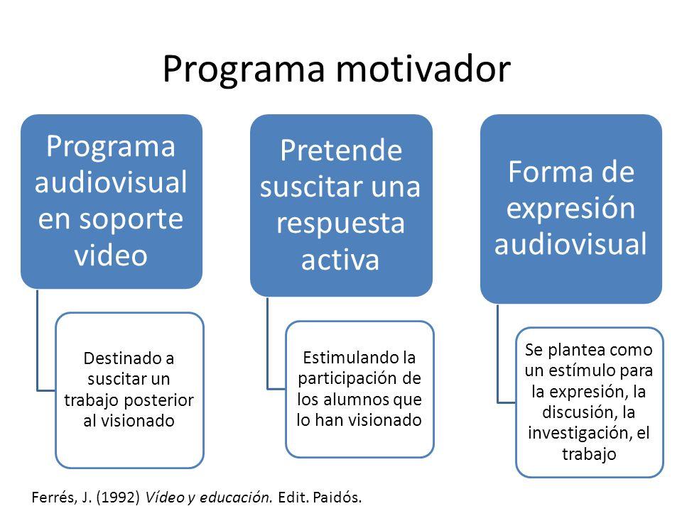 Programa motivador Programa audiovisual en soporte video Destinado a suscitar un trabajo posterior al visionado Pretende suscitar una respuesta activa