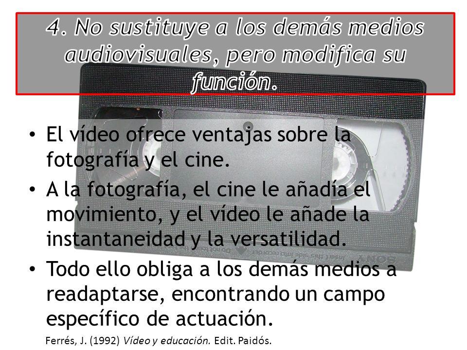 El vídeo ofrece ventajas sobre la fotografía y el cine. A la fotografía, el cine le añadía el movimiento, y el vídeo le añade la instantaneidad y la v
