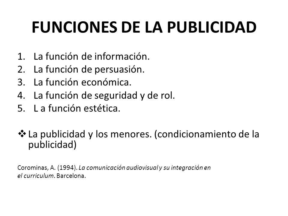 FUNCIONES DE LA PUBLICIDAD 1.La función de información. 2.La función de persuasión. 3.La función económica. 4.La función de seguridad y de rol. 5.L a