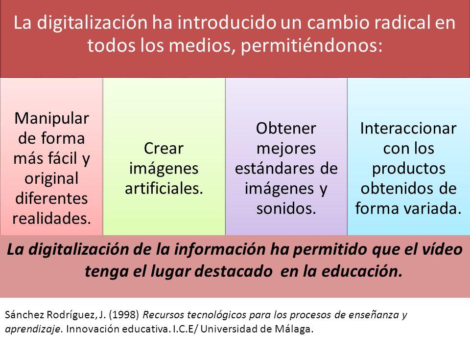 La digitalización ha introducido un cambio radical en todos los medios, permitiéndonos: Manipular de forma más fácil y original diferentes realidades.