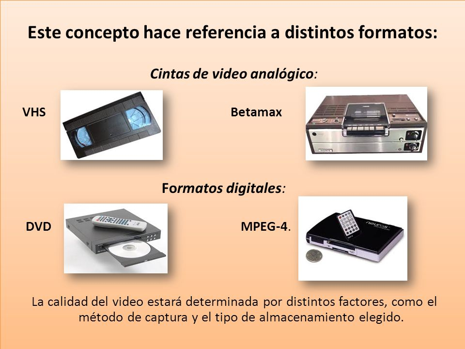 Este concepto hace referencia a distintos formatos: Cintas de video analógico: VHS Betamax Formatos digitales: DVD MPEG-4.