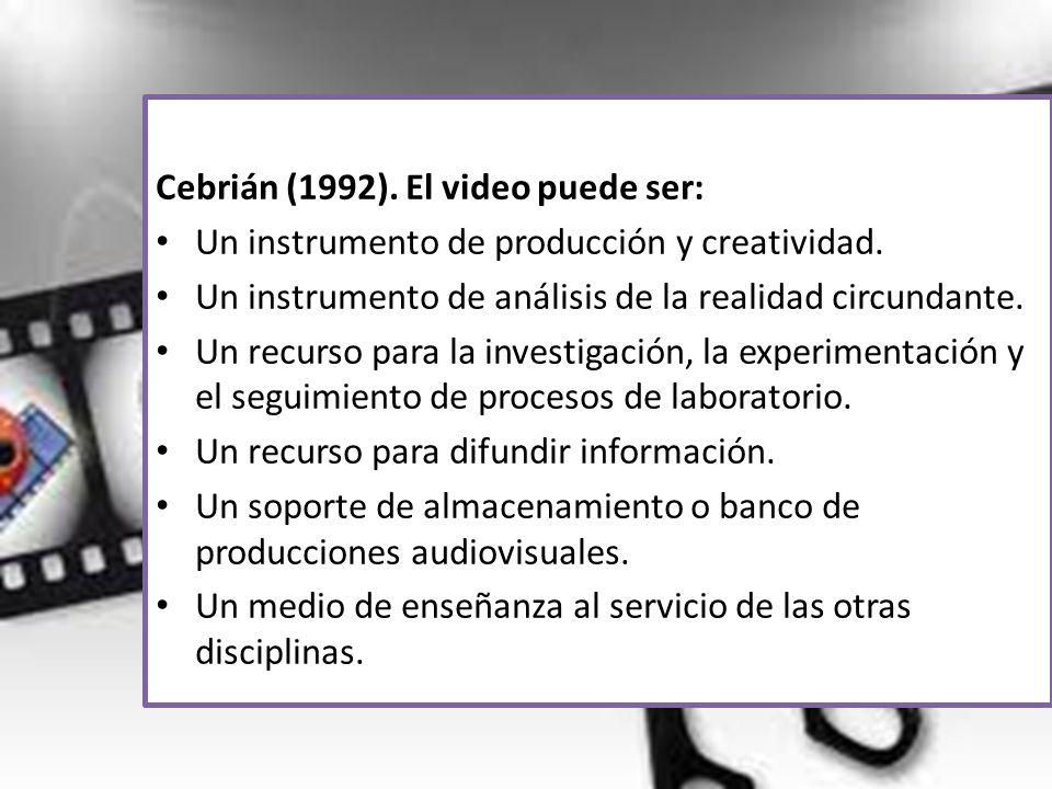 Cebrián (1992). El video puede ser: Un instrumento de producción y creatividad. Un instrumento de análisis de la realidad circundante. Un recurso para