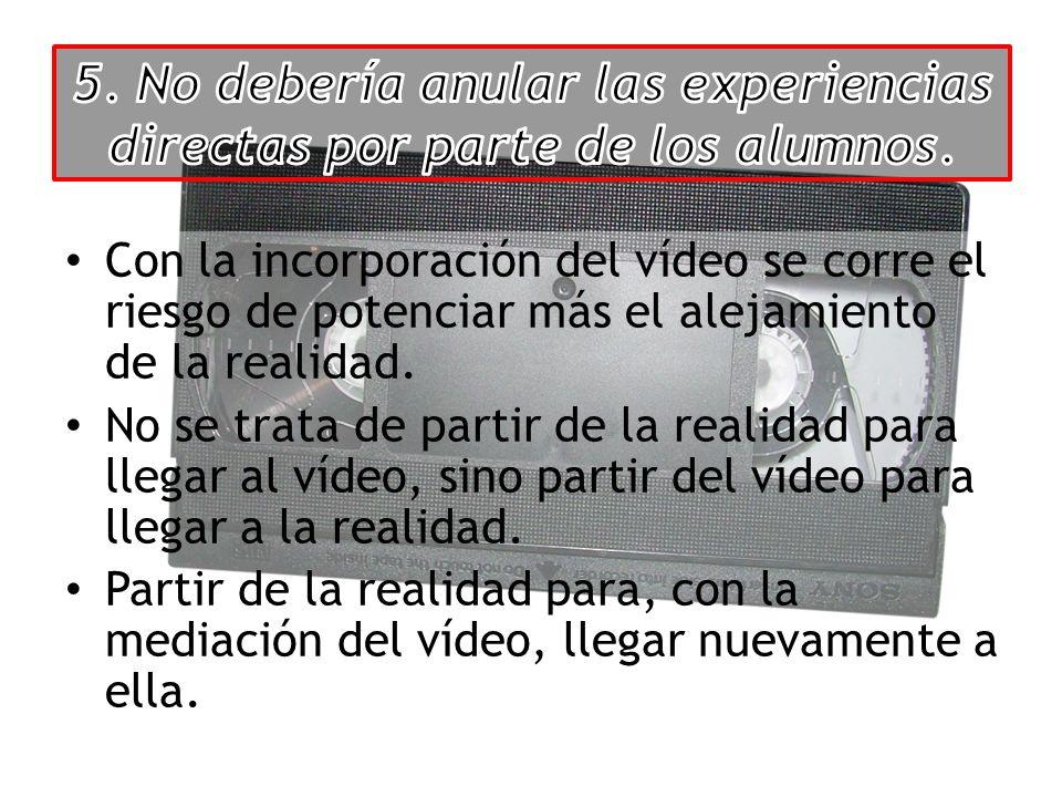 Con la incorporación del vídeo se corre el riesgo de potenciar más el alejamiento de la realidad.