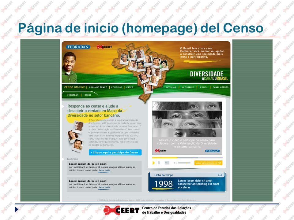 Página de inicio (homepage) del Censo