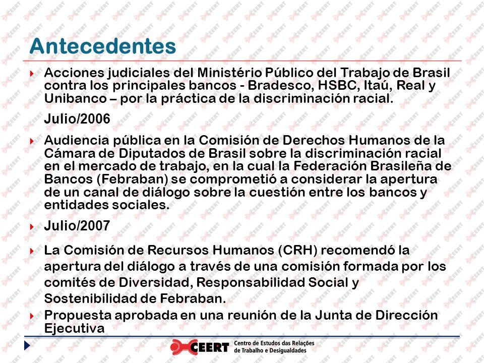 Antecedentes Acciones judiciales del Ministério Público del Trabajo de Brasil contra los principales bancos - Bradesco, HSBC, Itaú, Real y Unibanco –