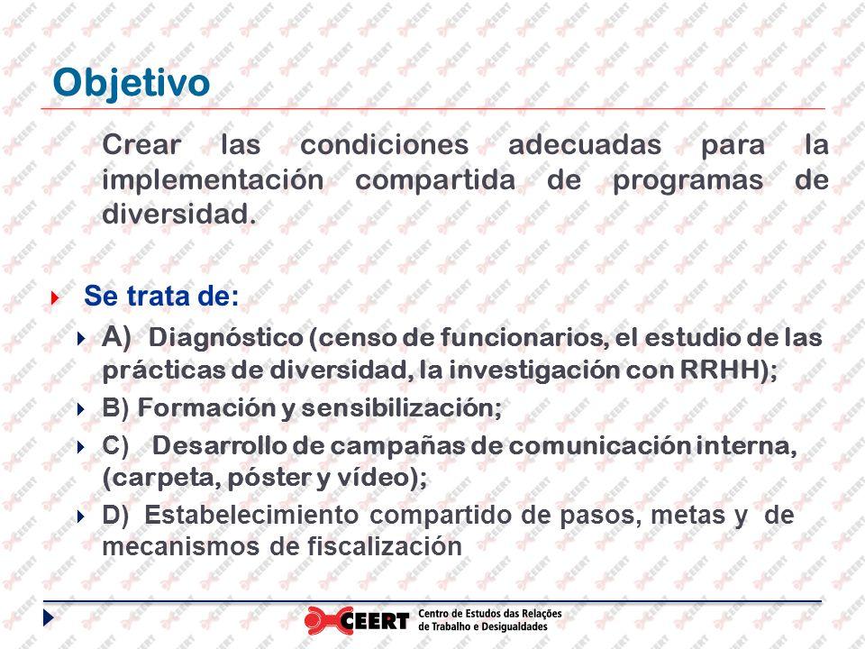 Objetivo Crear las condiciones adecuadas para la implementación compartida de programas de diversidad. Se trata de: A) Diagnóstico (censo de funcionar