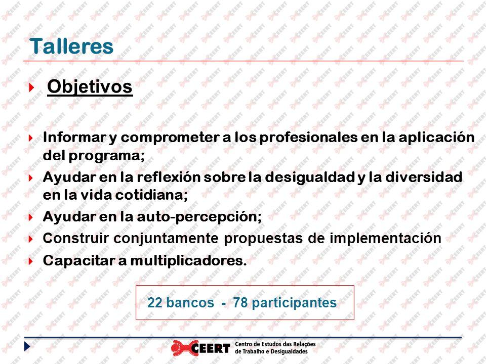 22 bancos - 78 participantes Talleres Objetivos Informar y comprometer a los profesionales en la aplicación del programa; Ayudar en la reflexión sobre la desigualdad y la diversidad en la vida cotidiana; Ayudar en la auto-percepción; Construir conjuntamente propuestas de implementación Capacitar a multiplicadores.