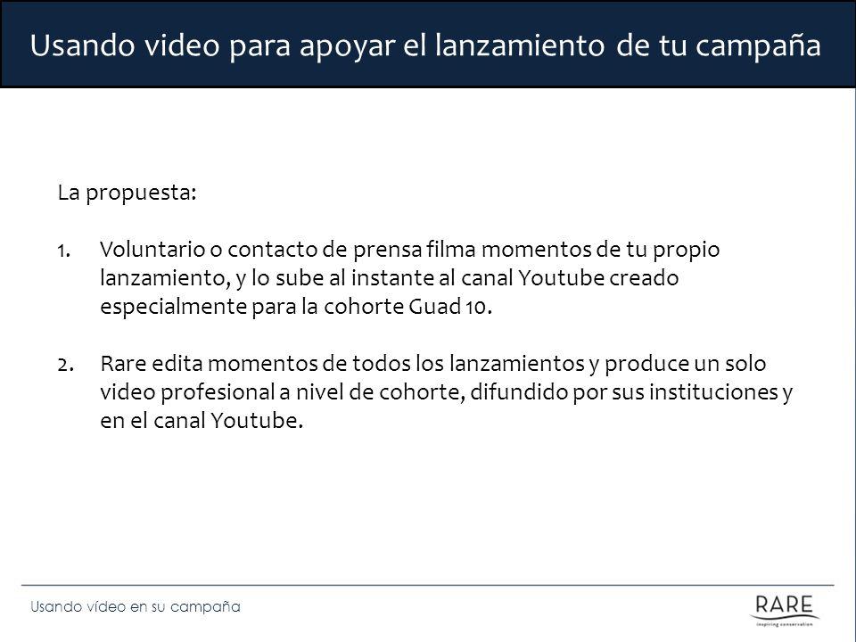 Usando vídeo en su campaña Usando video para apoyar el lanzamiento de tu campaña La propuesta: 1.Voluntario o contacto de prensa filma momentos de tu