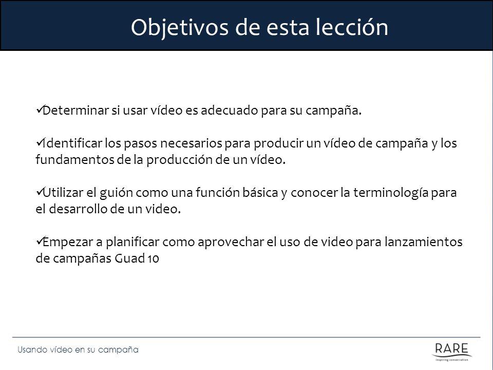 Objetivos de esta lección Determinar si usar vídeo es adecuado para su campaña. Identificar los pasos necesarios para producir un vídeo de campaña y l