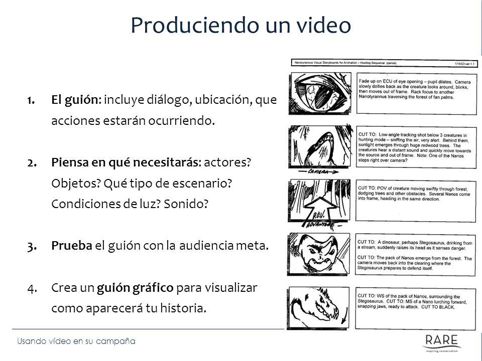 Usando vídeo en su campaña Produciendo un video 1.El guión: incluye diálogo, ubicación, que acciones estarán ocurriendo. 2.Piensa en qué necesitarás: