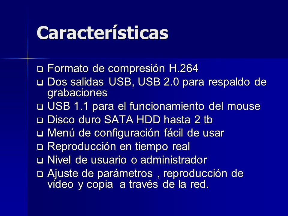 PARAMETROS PARAMETROS 4 entradas de vídeo compuesto 1,0 Vp-p, impedancia 75Ω, BNC Salida de vídeo compuesto PAL, 25 f/ s 4 entradas de audio impedancia 600Ω, RCA 1 canal de salida de audio Compresión de audio ADPCM Compresión de Imagen H.264 Resolución de imagen CIF/HD1/D1