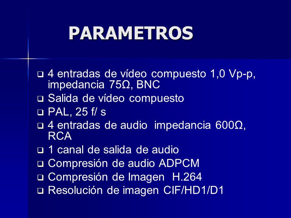 Video, tasa de muestreo en (4 canales) CIF: 384 ~ 768 Kbps (normal) HD1: 512 ~ 102 4kbps (calidad alta) D1: 512 ~ 1024 kbps (calidad más alta) Video, tasa de muestreo en (4 canales) CIF: 384 ~ 768 Kbps (normal) HD1: 512 ~ 102 4kbps (calidad alta) D1: 512 ~ 1024 kbps (calidad más alta) Almacenamiento de datos en disco duro SATA hasta 2 TB Max.