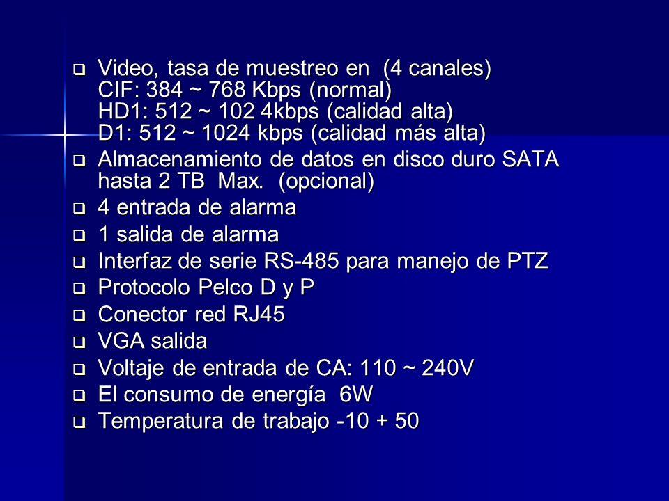 Operación de visualización y grabación en directo Operación de visualización y grabación en directo Producción y copia de seguridad por red Producción y copia de seguridad por red Grabación manual / por agenda / detección de movimiento Grabación manual / por agenda / detección de movimiento Modo de reproducción con varias velocidades Modo de reproducción con varias velocidades Pre alarma de grabación durante 10 segundos Pre alarma de grabación durante 10 segundos Protocolo de red TCP-IP/PPPOE Protocolo de red TCP-IP/PPPOE IP estáticas o dinámicas / DDNS IP estáticas o dinámicas / DDNS Ajuste de: Saturación / Contraste / Brillo Ajuste de: Saturación / Contraste / Brillo Control PTZ por puerto RS-485 y Red Control PTZ por puerto RS-485 y Red Visualización en 3G Visualización en 3G