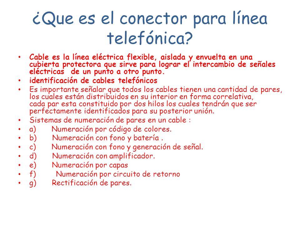 ¿Que es el conector para línea telefónica? Cable es la línea eléctrica flexible, aislada y envuelta en una cubierta protectora que sirve para lograr e