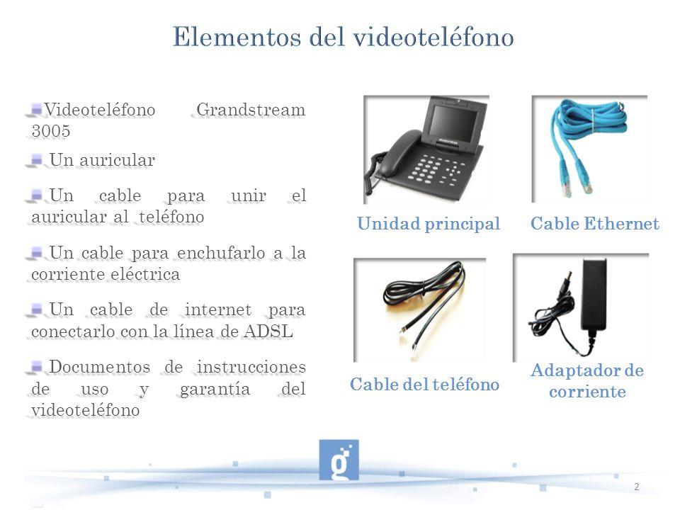 Videoteléfono Grandstream 3005 Un auricular Un auricular Un cable para unir el auricular al teléfono Un cable para unir el auricular al teléfono Un ca
