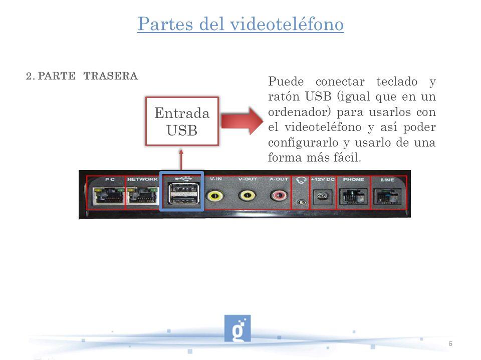 Partes del videoteléfono 6 Puede conectar teclado y ratón USB (igual que en un ordenador) para usarlos con el videoteléfono y así poder configurarlo y