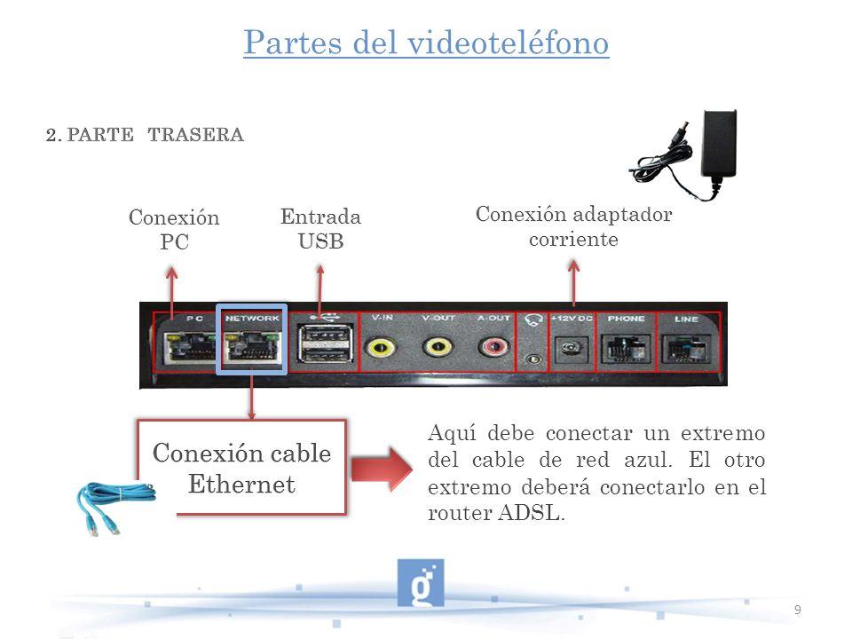 Partes del videoteléfono 9 Aquí debe conectar un extremo del cable de red azul. El otro extremo deberá conectarlo en el router ADSL.