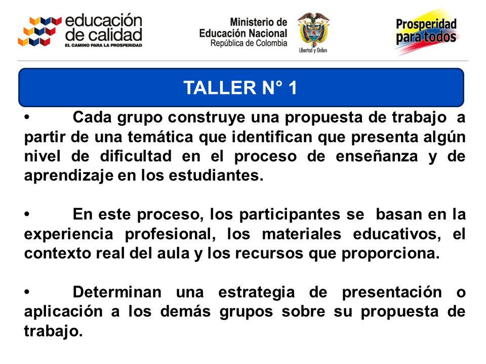 Cada grupo construye una propuesta de trabajo a partir de una temática que identifican que presenta algún nivel de dificultad en el proceso de enseñan