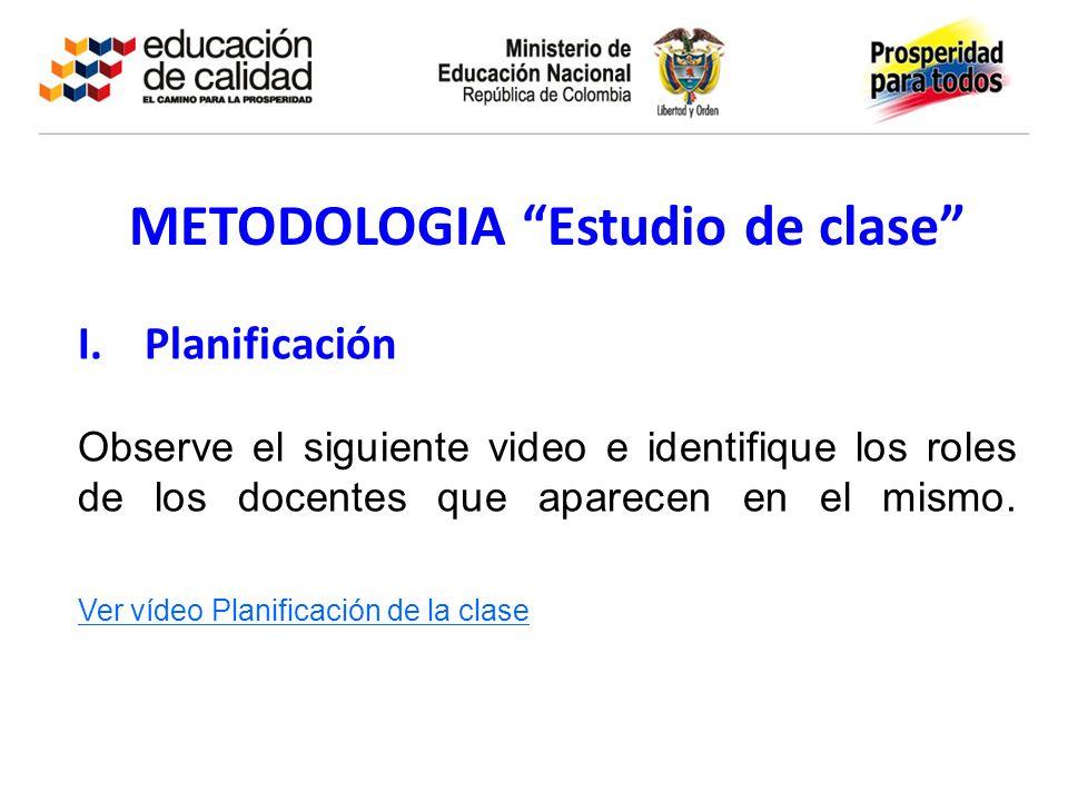 METODOLOGIA Estudio de clase I.Planificación Observe el siguiente video e identifique los roles de los docentes que aparecen en el mismo. Ver vídeo Pl