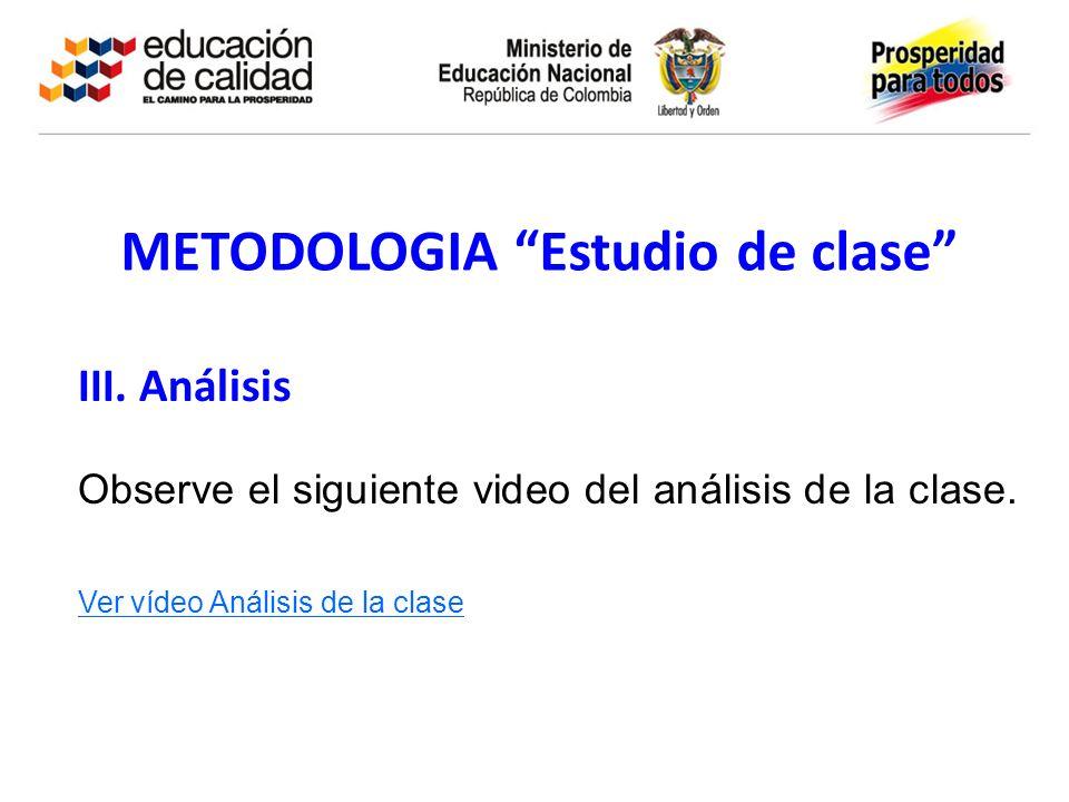 METODOLOGIA Estudio de clase III. Análisis Observe el siguiente video del análisis de la clase. Ver vídeo Análisis de la clase