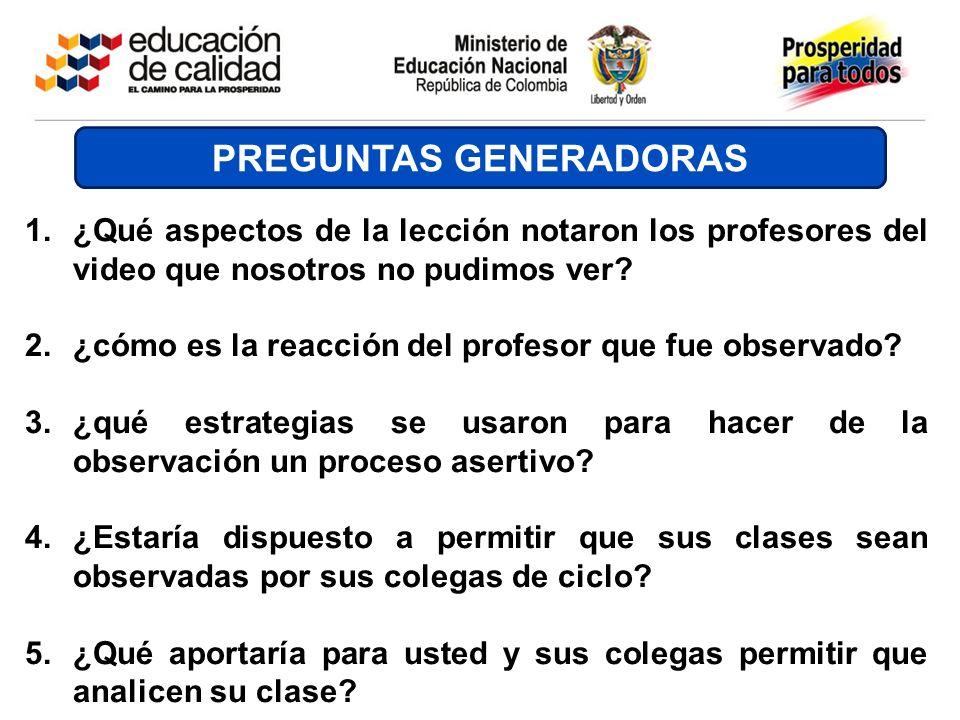PREGUNTAS GENERADORAS 1.¿Qué aspectos de la lección notaron los profesores del video que nosotros no pudimos ver? 2.¿cómo es la reacción del profesor