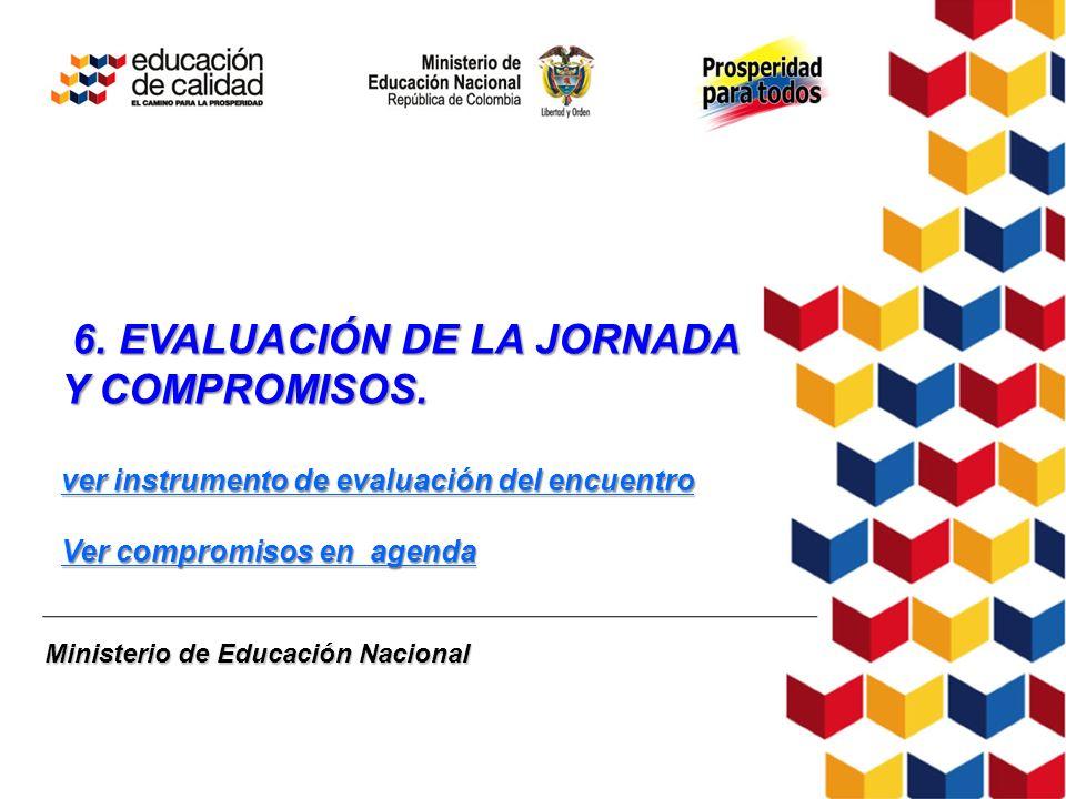 Ministerio de Educación Nacional 6. EVALUACIÓN DE LA JORNADA Y COMPROMISOS. 6. EVALUACIÓN DE LA JORNADA Y COMPROMISOS. ver instrumento de evaluación d