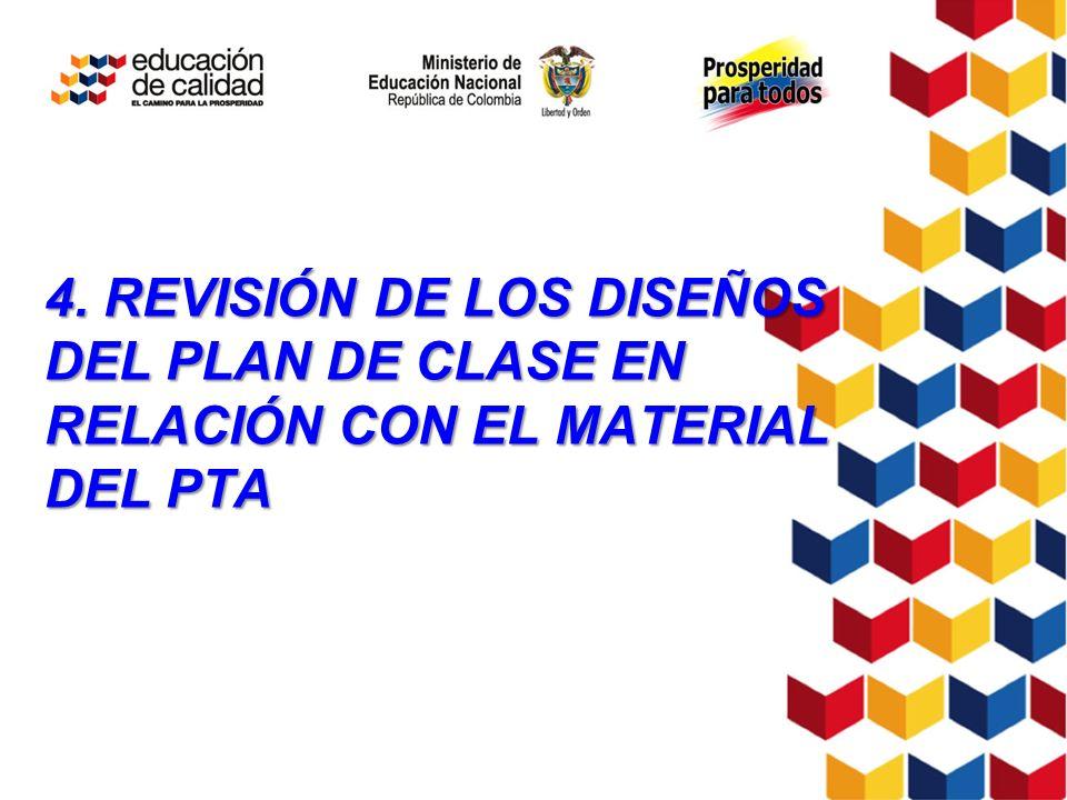 4. REVISIÓN DE LOS DISEÑOS DEL PLAN DE CLASE EN RELACIÓN CON EL MATERIAL DEL PTA