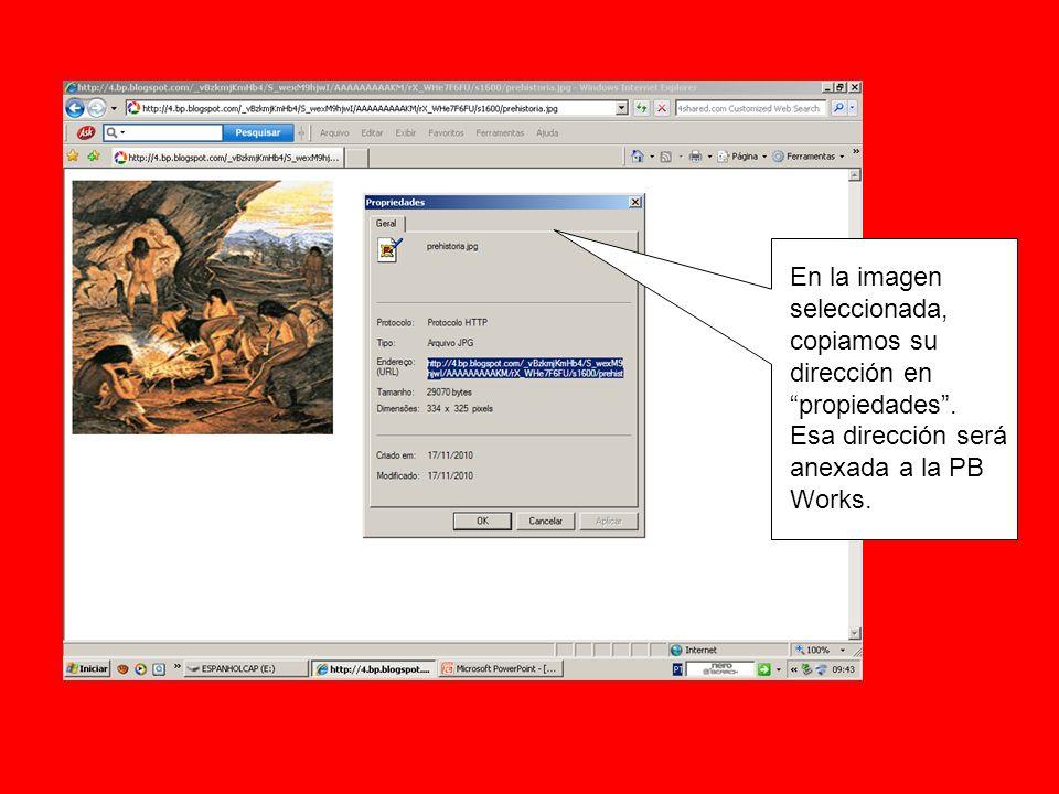 En la imagen seleccionada, copiamos su dirección en propiedades. Esa dirección será anexada a la PB Works.