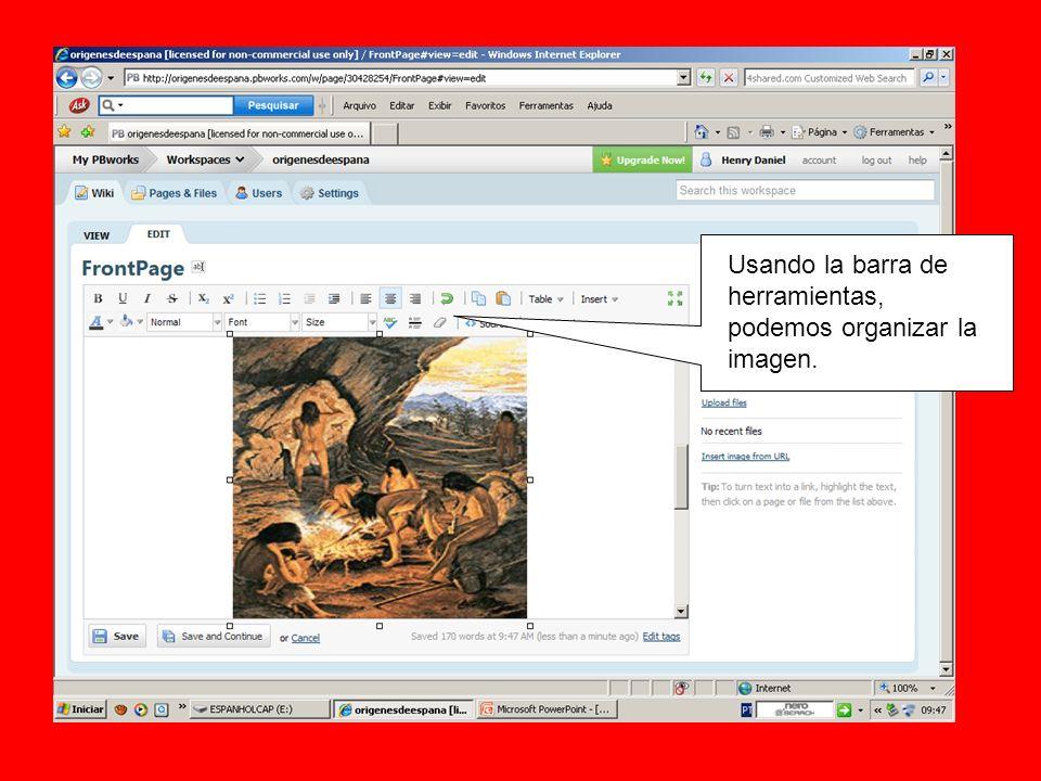 Usando la barra de herramientas, podemos organizar la imagen.