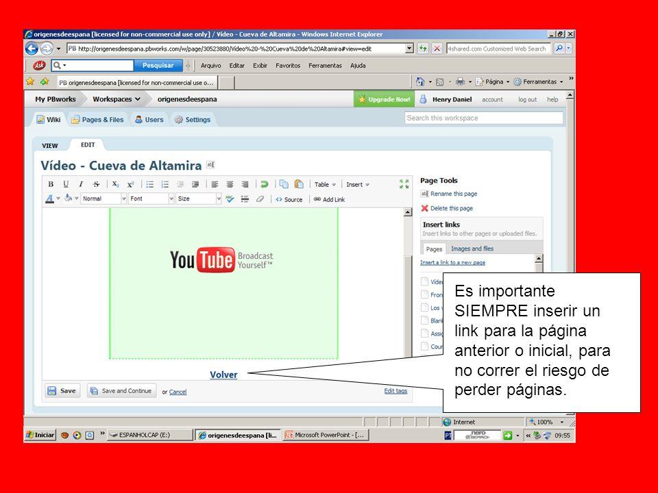 Es importante SIEMPRE inserir un link para la página anterior o inicial, para no correr el riesgo de perder páginas.