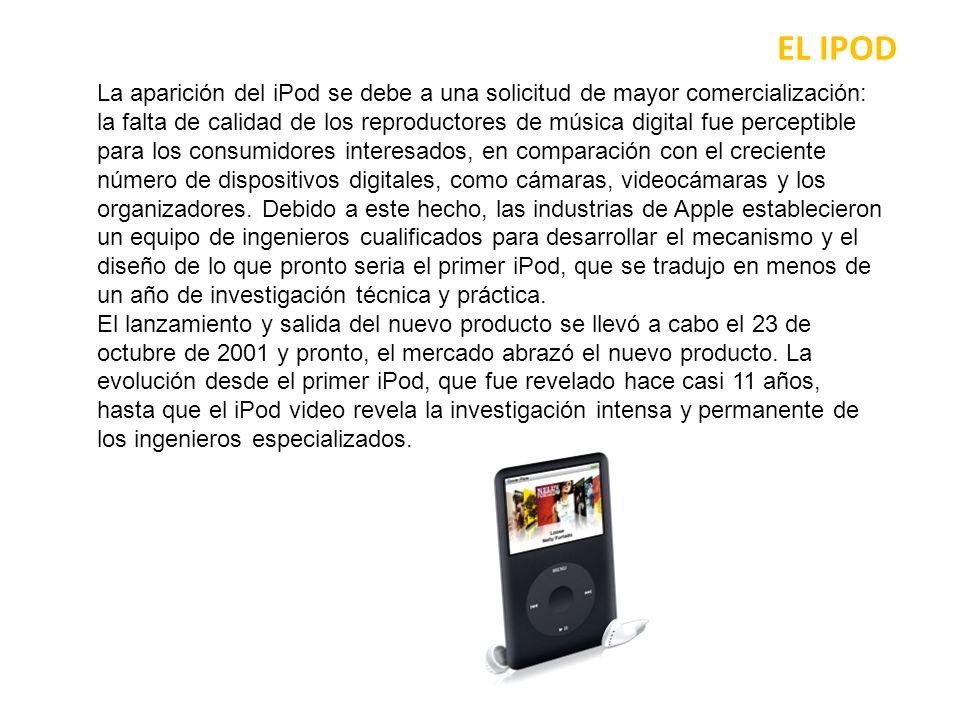 EL IPOD El siguiente paso importante en la evolución de este dispositivo fue el lanzamiento del iPod 2 versiones, tanto para usuarios de Mac y Windows, que ha incrementado las ventas y el número de clientes potenciales.