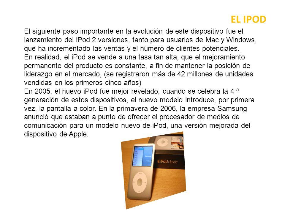 EL IPOD Poco después, la 5 ª generación de iPods introdujo el iPod vídeo, lo que significa que tenía la capacidad de reproducción de vídeo, reproducción de vídeo y mejores características de la organización.