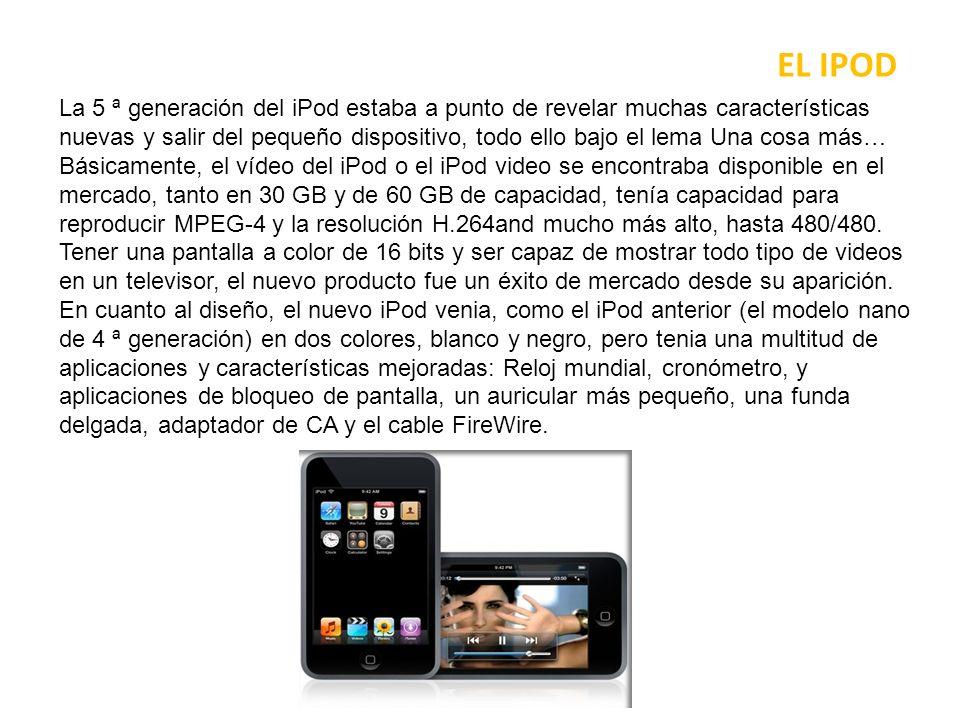 EL IPOD En cuanto a las dimensiones, el nuevo iPod era de 4,1 x 2,4 x 0,43 pulgadas para la versión de 30 GB y 4,1 x 2,4 x 0,55 pulgadas para la versión de 60 GB (que, en el caso del nuevo modelo, se comercializaban al mismo precio).