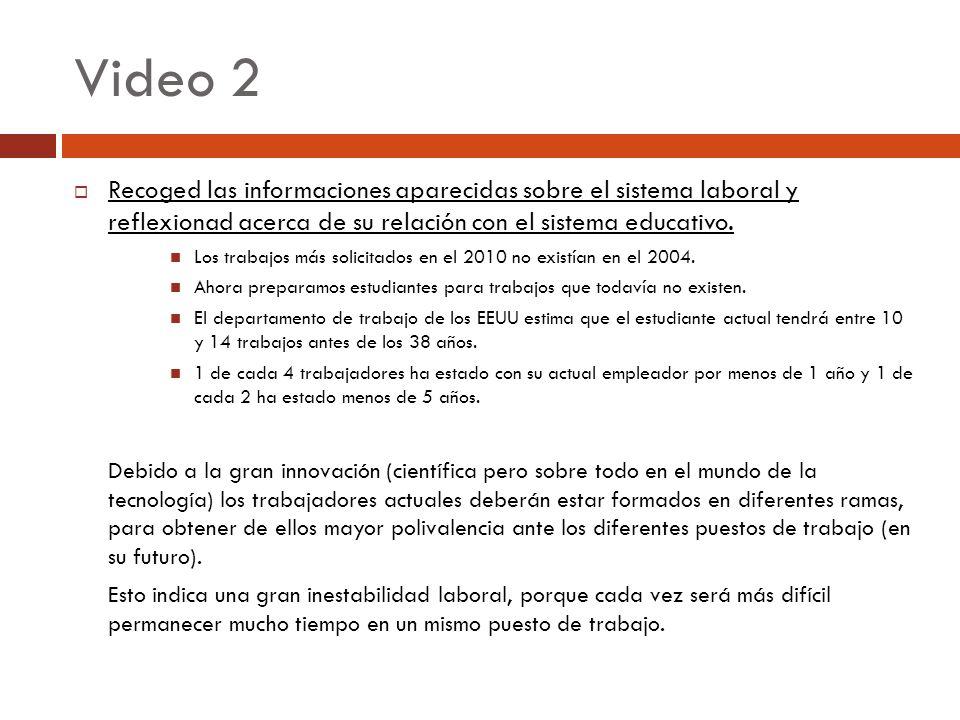 Video 2 Recoged las informaciones aparecidas sobre el sistema laboral y reflexionad acerca de su relación con el sistema educativo. Los trabajos más s
