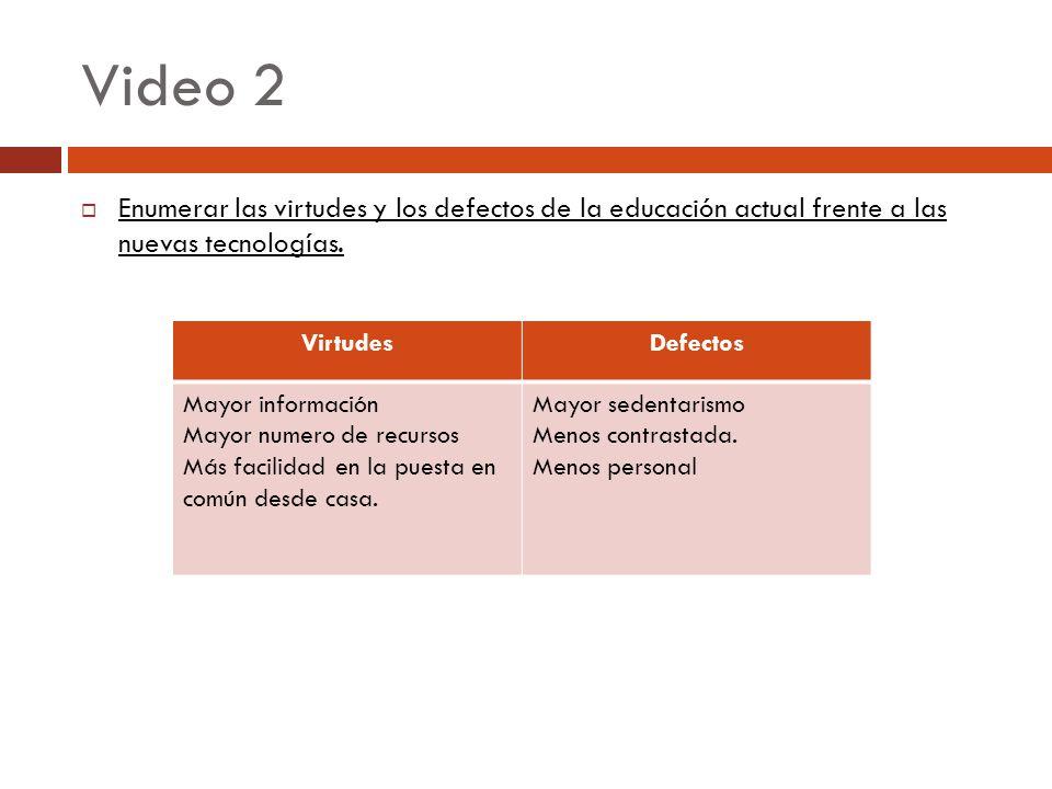 Video 2 Enumerar las virtudes y los defectos de la educación actual frente a las nuevas tecnologías. VirtudesDefectos Mayor información Mayor numero d