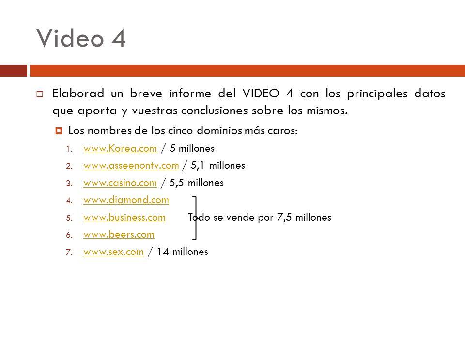 Video 4 Elaborad un breve informe del VIDEO 4 con los principales datos que aporta y vuestras conclusiones sobre los mismos. Los nombres de los cinco