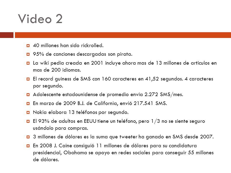 Video 2 40 millones han sido rickrolled. 95% de canciones descargadas son pirata. La wiki pedía creada en 2001 incluye ahora mas de 13 millones de art