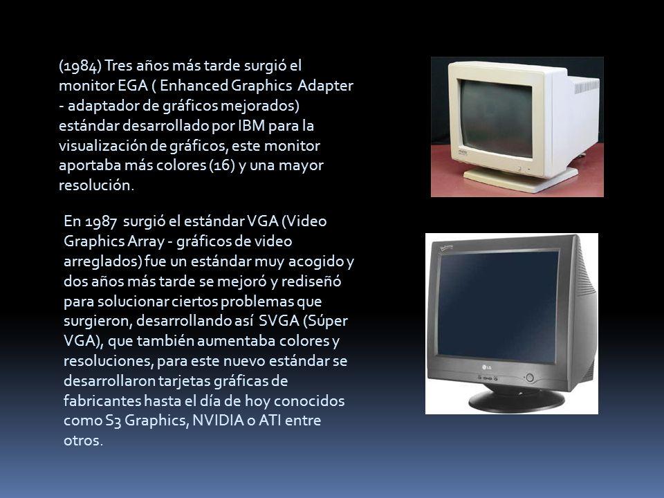 En 1987 surgió el estándar VGA (Video Graphics Array - gráficos de video arreglados) fue un estándar muy acogido y dos años más tarde se mejoró y redi