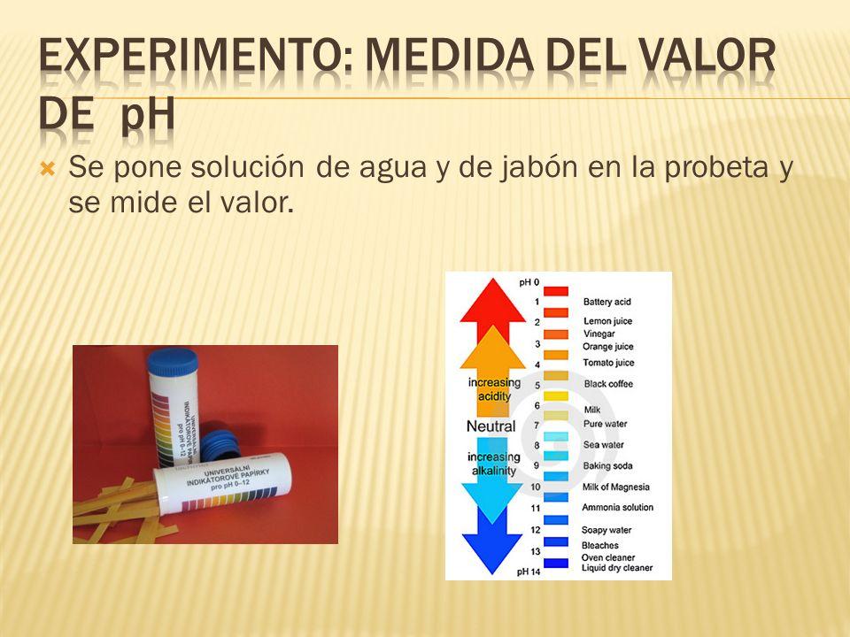 Se pone solución de agua y de jabón en la probeta y se mide el valor.