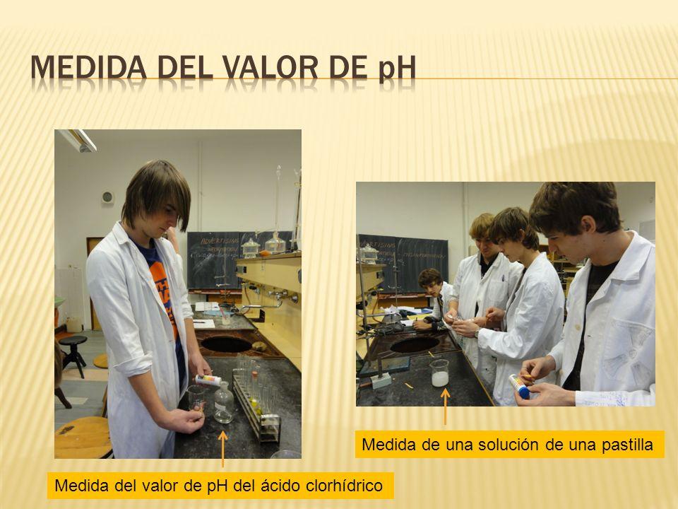 Medida del valor de pH del ácido clorhídrico Medida de una solución de una pastilla
