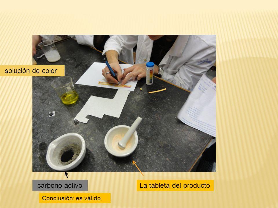 solución de color La tableta del producto Conclusión: es válido