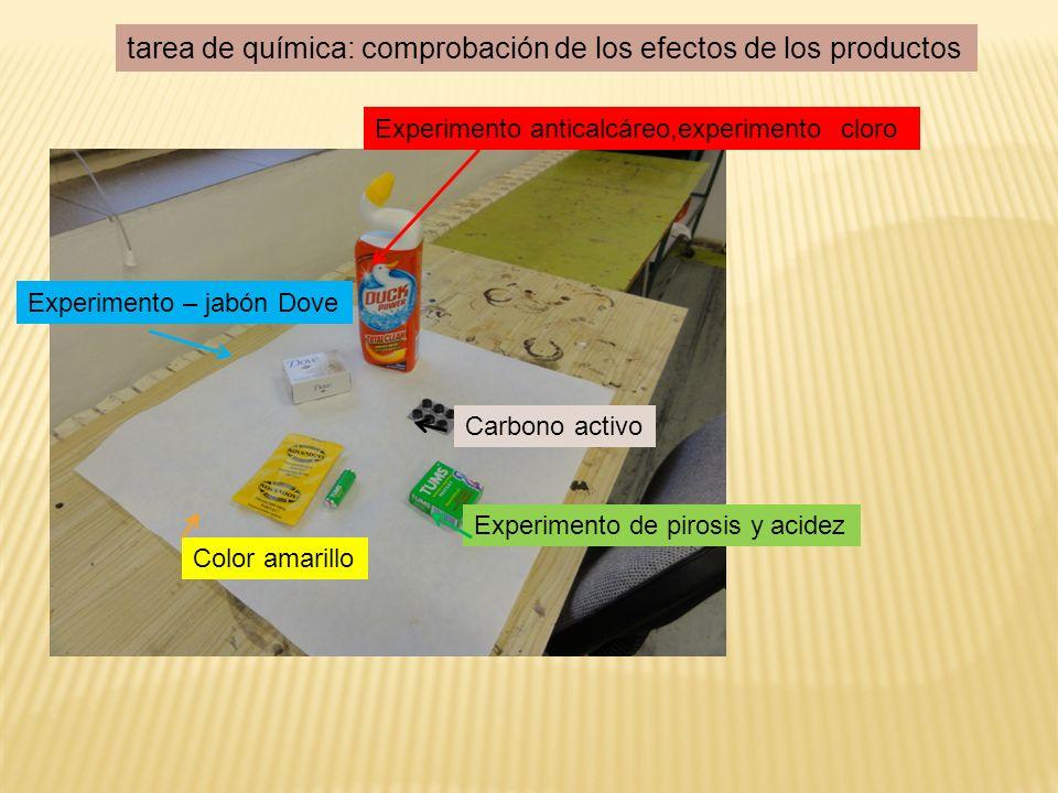 Experimento anticalcáreo,experimento cloro Experimento – jabón Dove Experimento de pirosis y acidez Carbono activo Color amarillo tarea de química: comprobación de los efectos de los productos