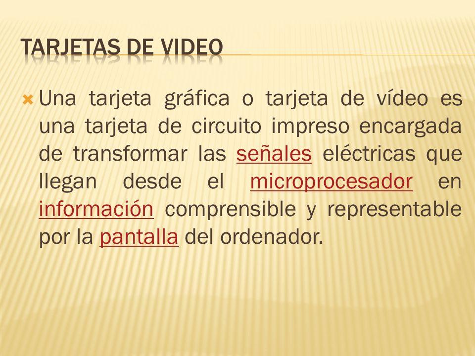 Una tarjeta gráfica o tarjeta de vídeo es una tarjeta de circuito impreso encargada de transformar las señales eléctricas que llegan desde el microprocesador en información comprensible y representable por la pantalla del ordenador.señalesmicroprocesador informaciónpantalla