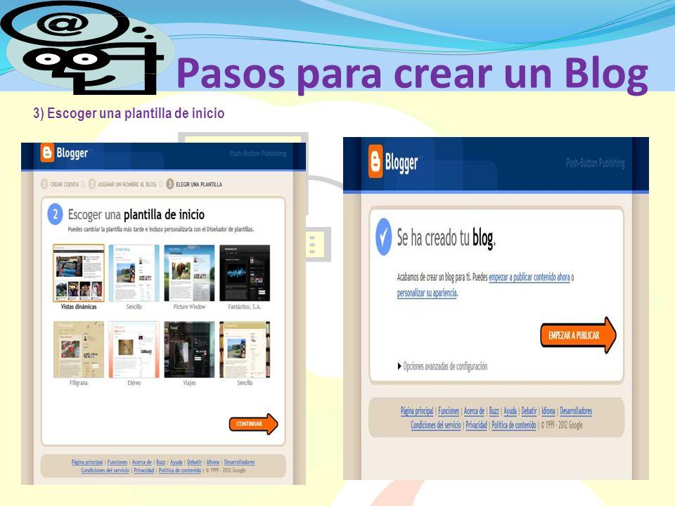 Pasos para crear un Blog 3) Escoger una plantilla de inicio