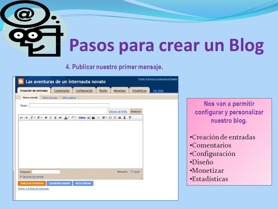 Pasos para crear un Blog 4. Publicar nuestro primer mensaje. Nos van a permitir configurar y personalizar nuestro blog. Creación de entradas Comentari